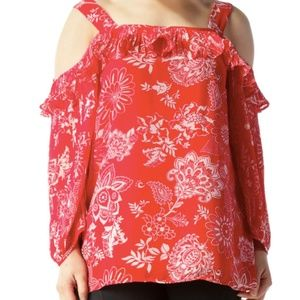 Roz & Ali Red and White Floral Cold Shoulder Top